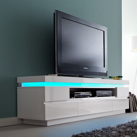 57'' Tv Stands With Led Lights Modern Entertainment Center With Regard To Favorite Furniture Interior Design Ideas (View 9 of 10)