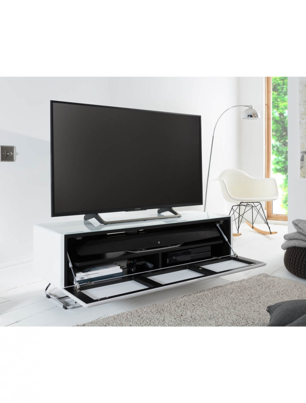 57'' Tv Stands With Open Glass Shelves Gray & Black Finsh With Regard To 2017 Tv Stand White Chromium Concept 1200mm Cro2 1200cpt Wh (View 6 of 10)