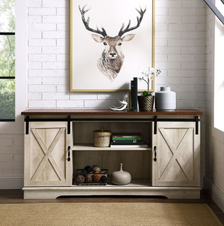 """58"""" Modern Farmhouse Sliding Barn Door Tv Stand Media Inside Recent Dark Brown Tv Cabinets With 2 Sliding Doors And Drawer (View 7 of 10)"""