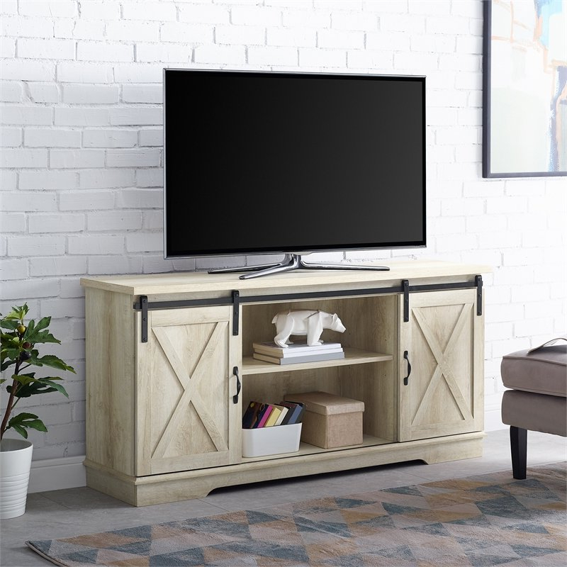 """58"""" Modern Farmhouse Wood Tv Stand With Sliding Barn Doors For Most Recent Jaxpety 58"""" Farmhouse Sliding Barn Door Tv Stands (View 5 of 10)"""