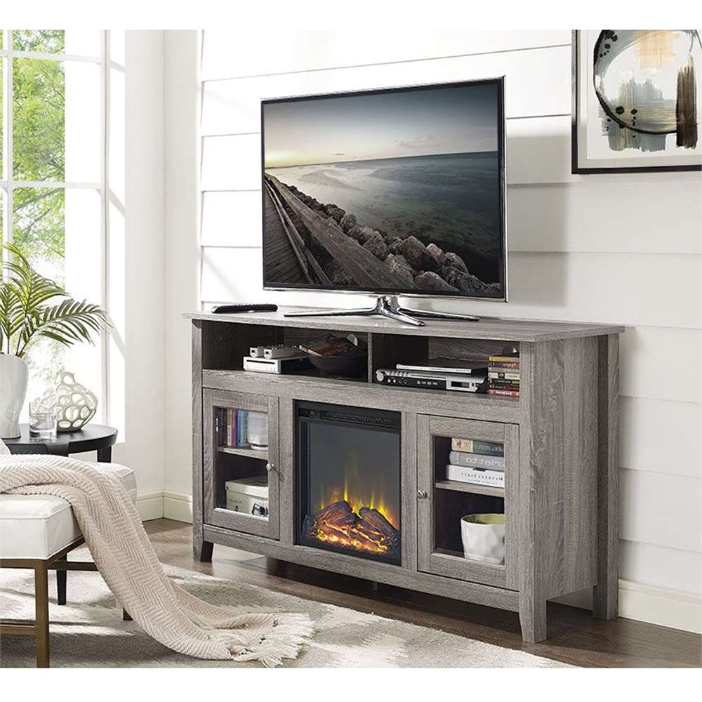"""58"""" Wood Highboy Fireplace Tv Stand – Driftwood With Regard To Widely Used Techni Mobili 53"""" Driftwood Tv Stands In Grey (View 10 of 10)"""