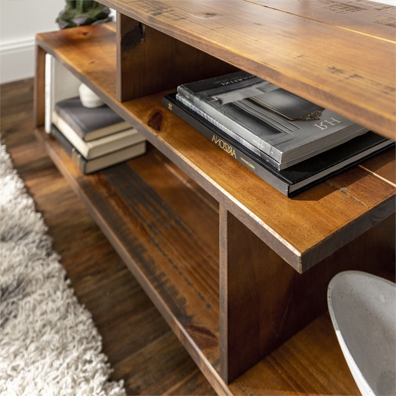 """60 Inch Rustic Solid Wood Asymmetrical Tv Stand Console In Intended For Trendy Margulies Tv Stands For Tvs Up To 60"""" (View 19 of 25)"""
