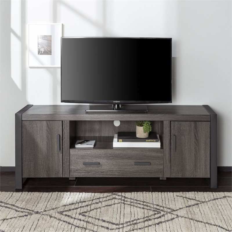 """60"""" Industrial Charcoal Grey Wood Tv Stand – W60ubc22cl Intended For Fashionable Casey May Tv Stands For Tvs Up To 70"""" (View 4 of 25)"""
