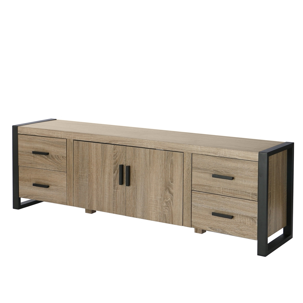 """70"""" Driftwood Wood Tv Stand Console Pertaining To Trendy Techni Mobili 53"""" Driftwood Tv Stands In Grey (View 6 of 10)"""