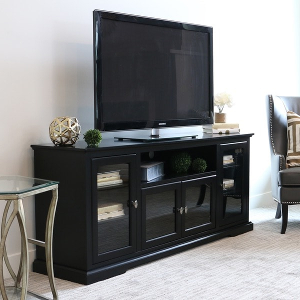 70 Inch Black Wood Highboy Tv Stand – 16260496 – Overstock In Trendy Dark Brown Tv Cabinets With 2 Sliding Doors And Drawer (View 6 of 10)