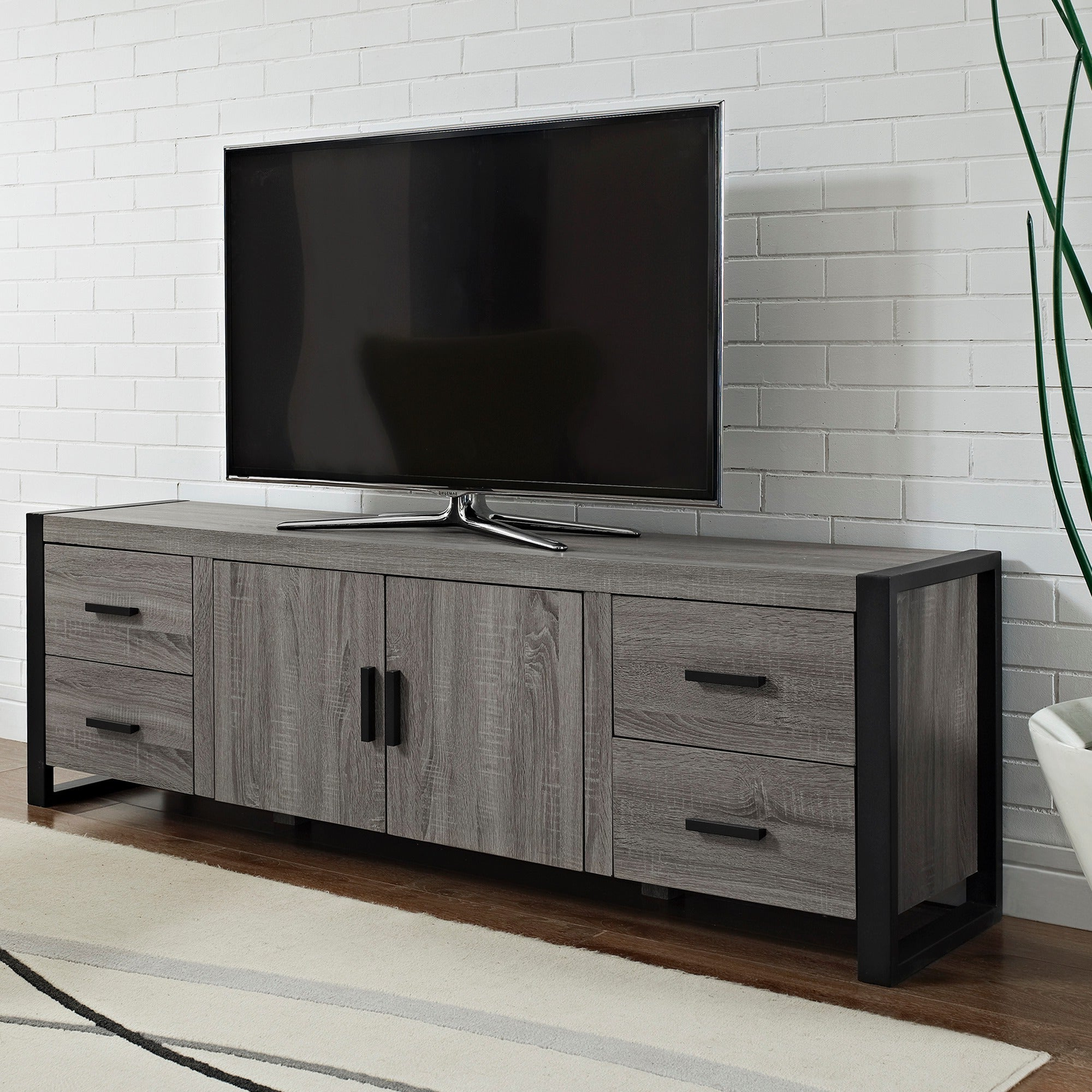 70 Inch Urban Blend Ash Grey Wood Tv Stand – Overstock In Famous Urban Rustic Tv Stands (View 9 of 10)