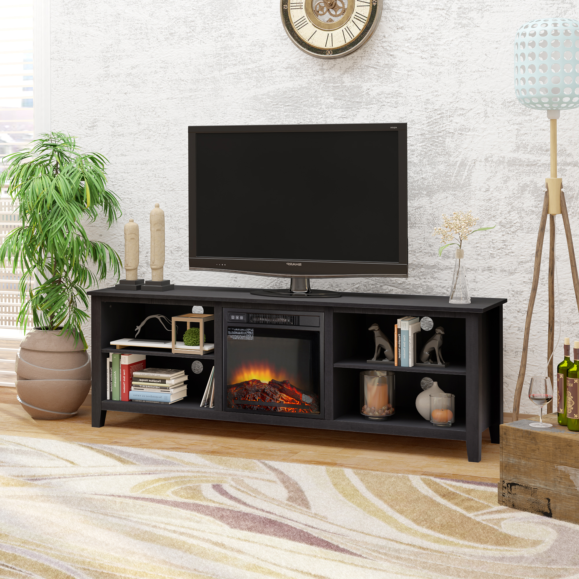 """70"""" Tv Stand Fireplace Media Console For Tvs Up To 80 Intended For 2017 Broward Tv Stands For Tvs Up To 70"""" (View 4 of 25)"""
