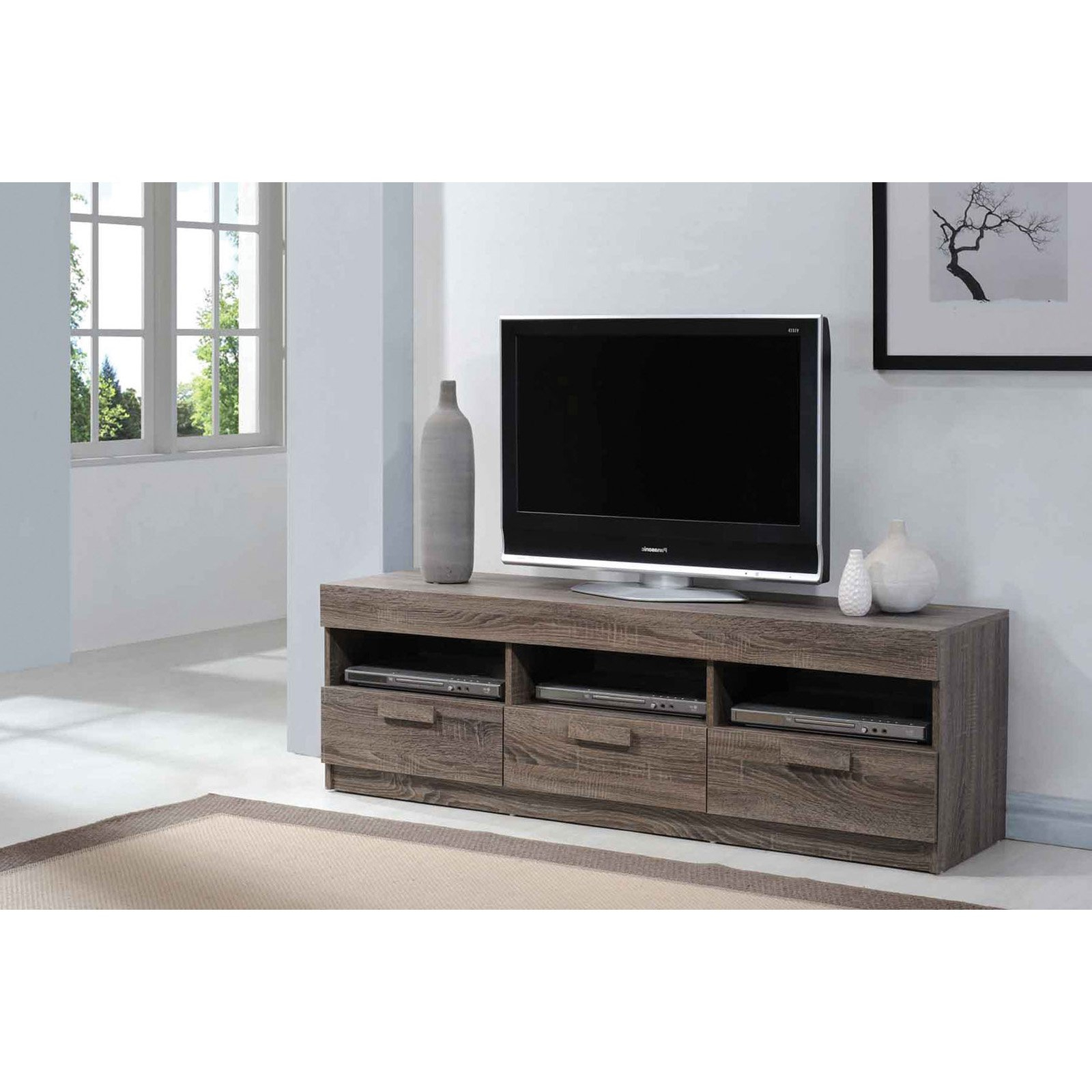 """Acme Alvin Rustic Oak Tv Stand For Flat Screen Tvs Up To With Most Recently Released Ahana Tv Stands For Tvs Up To 60"""" (View 7 of 25)"""