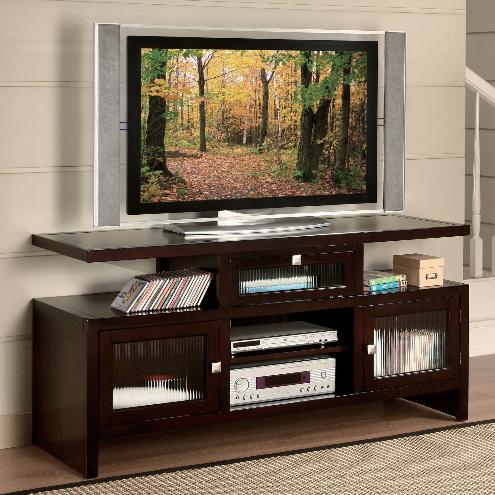 """Acme Jupiter Foldable Tv Stand For Tvs Up To 70"""", Espresso Intended For Most Popular Kinsella Tv Stands For Tvs Up To 70"""" (View 4 of 25)"""