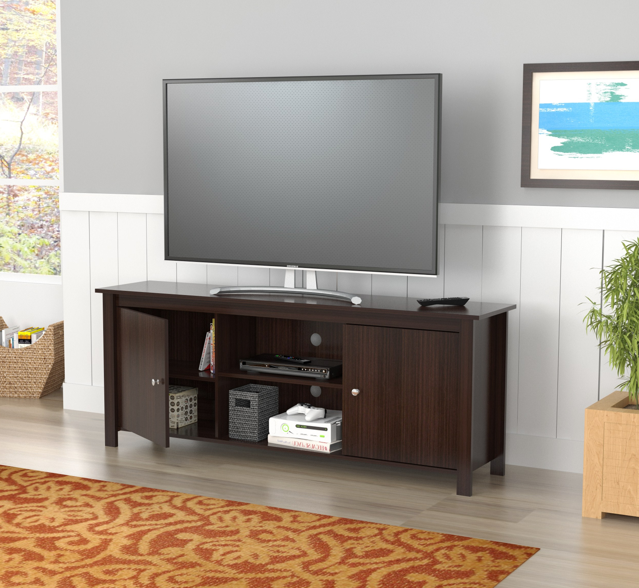 """Ahana Tv Stands For Tvs Up To 60"""" Inside Well Known Inval Contemporary Espresso 60 Inch Tv Stand – Walmart (View 18 of 25)"""