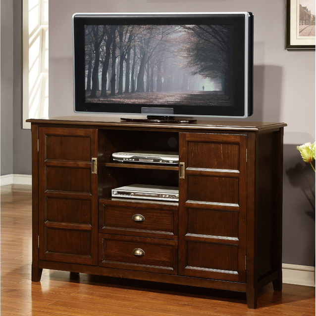 Alden Design Wooden Tv Stands With Storage Cabinet Espresso In Well Liked Portland Collection Espresso Brown Tall Tv Stand (View 1 of 10)