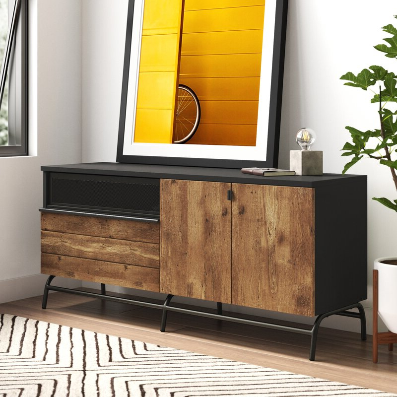 Allmodern Inside Most Recently Released Farmhouse Woven Paths Glass Door Tv Stands (View 3 of 10)