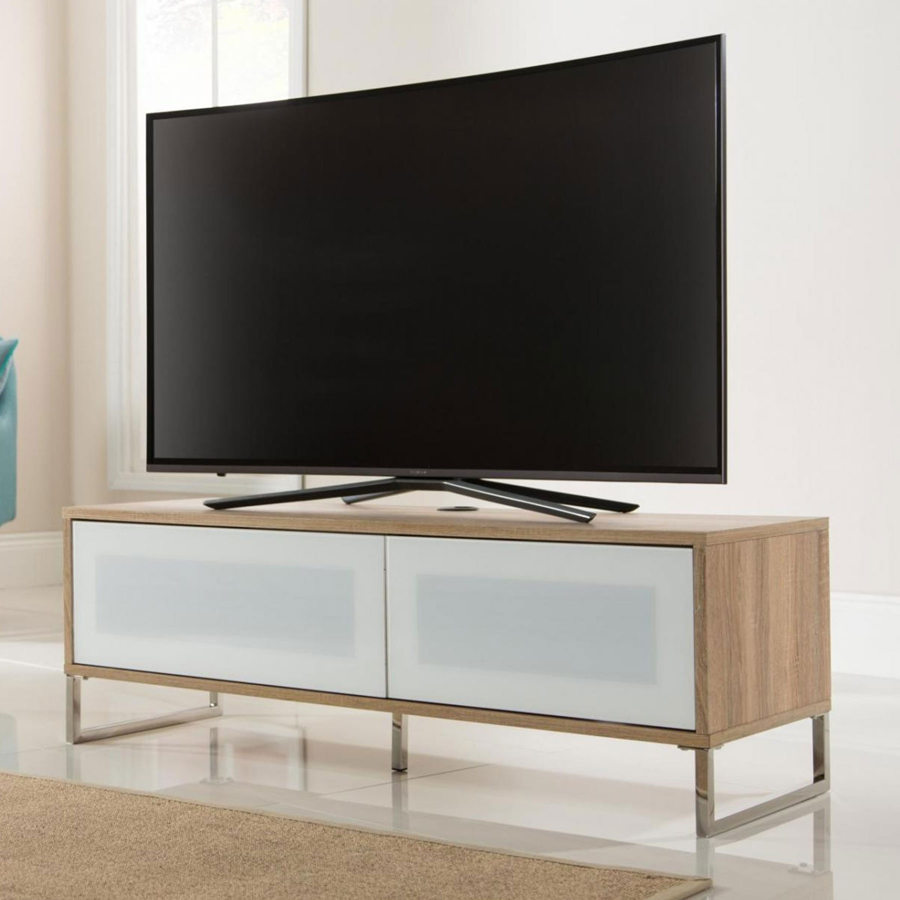 """Alphason Helium 120cm Oak Tv Stand For Up To 50"""" Tvs Pertaining To Most Recent Tv Stands For Tvs Up To 50"""" (View 7 of 25)"""