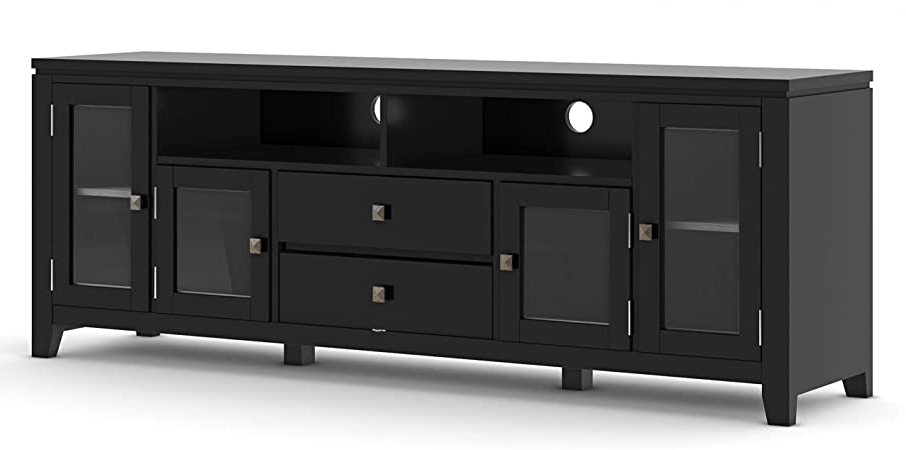 Amazon: Simplihome Cosmopolitan Solid Wood Universal With Regard To Most Recent Modern Tv Stands In Oak Wood And Black Accents With Storage Doors (View 6 of 10)