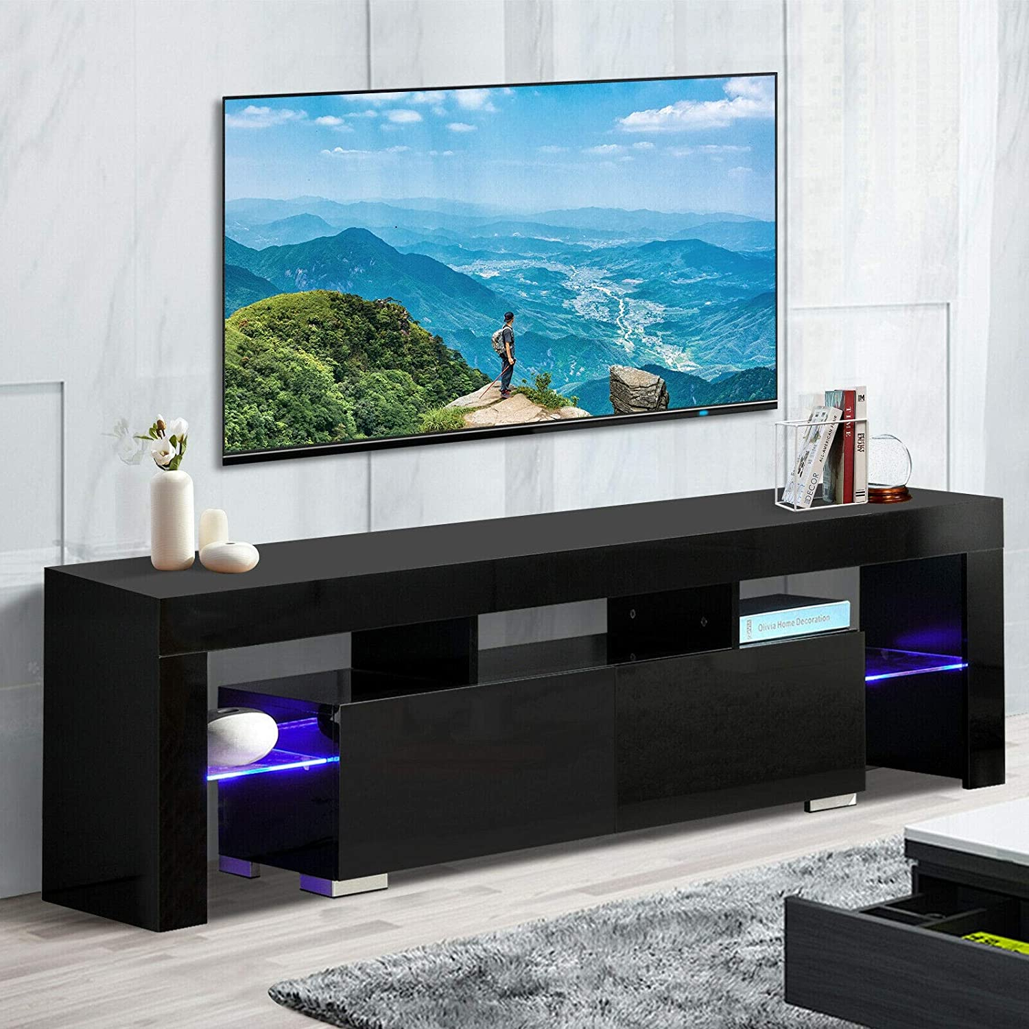 Amazon: Tv Stand Elegant Black High Gloss Led Light Throughout Most Recent Ktaxon Modern High Gloss Tv Stands With Led Drawer And Shelves (View 10 of 10)