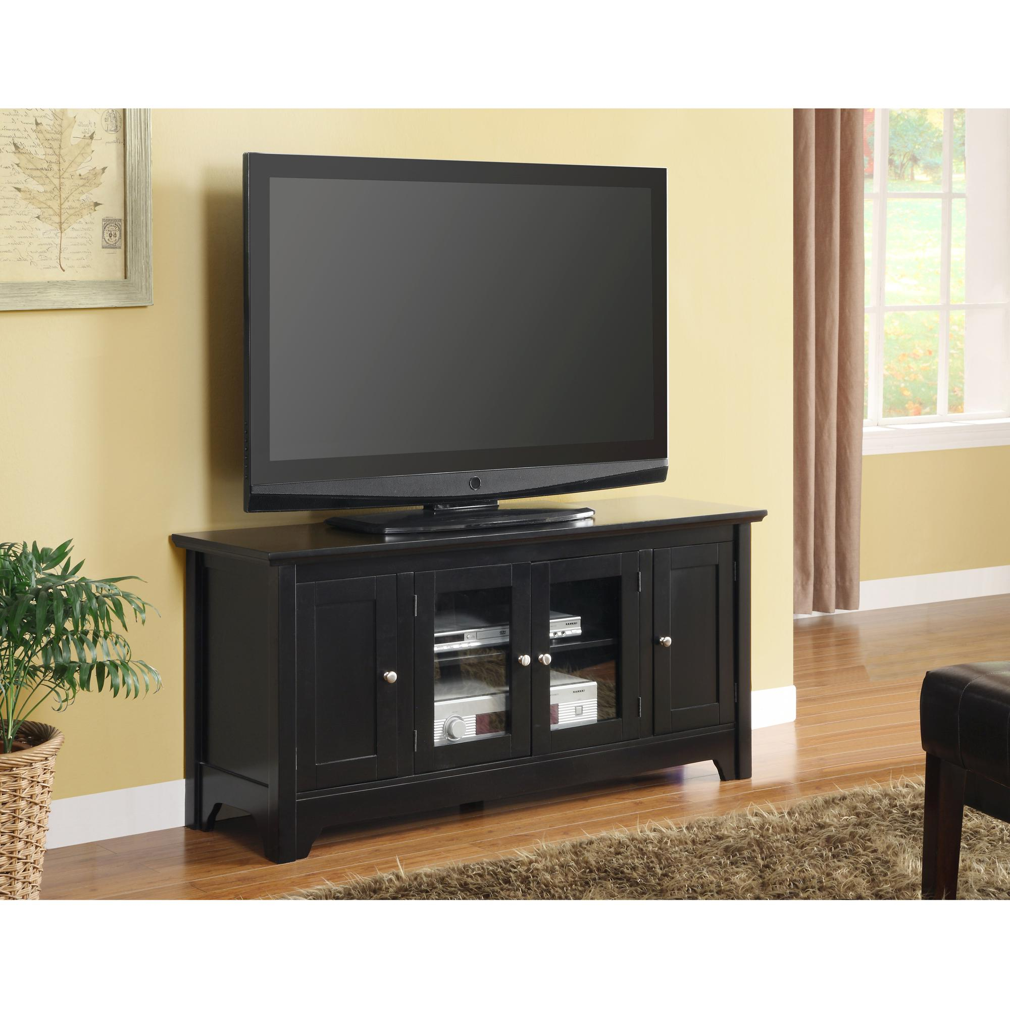 """Amazon – Walker Edison 53"""" Wood Tv Stand With Storage Pertaining To Well Liked Walker Edison Wood Tv Media Storage Stands In Black (View 9 of 10)"""