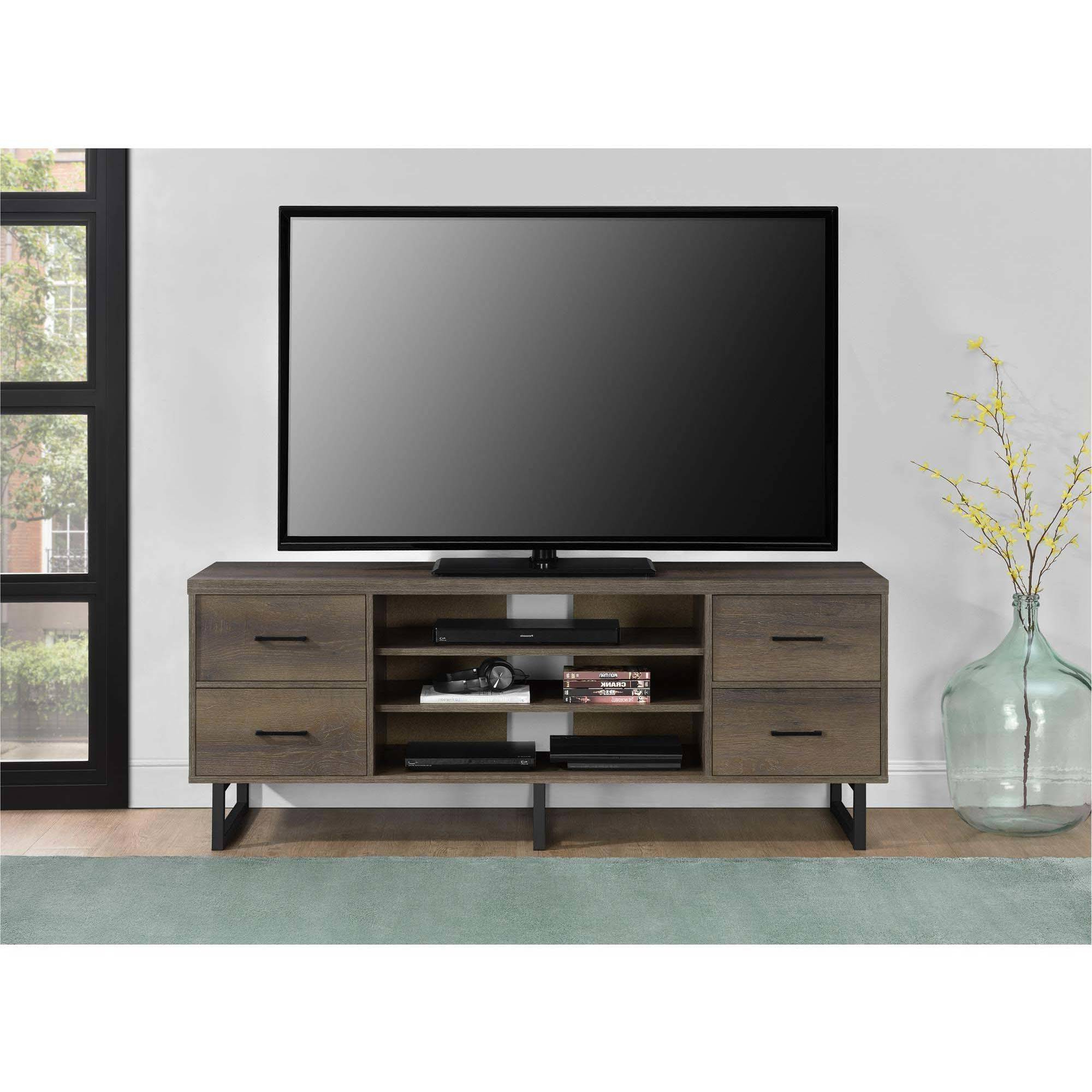 Ameriwood Home Candon Tv Stand With Bins For Tvs Up To 60 In Popular Bromley Extra Wide Oak Tv Stands (View 9 of 25)