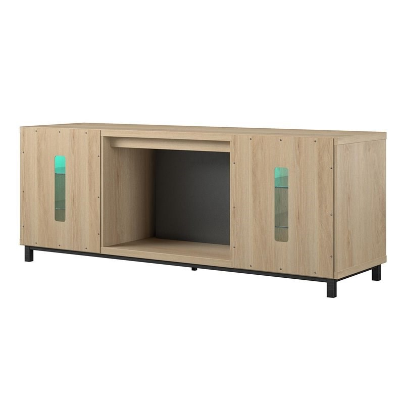 """Ameriwood Home Lumina Deluxe Fireplace Tv Stand For Tvs Up Inside Recent Ameriwood Home Rhea Tv Stands For Tvs Up To 70"""" In Black Oak (View 9 of 10)"""