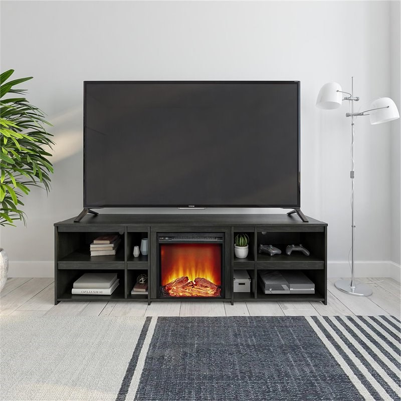 """Ameriwood Home Miles Fireplace Tv Stand Up To 70"""" In Black With Regard To Most Recent Broward Tv Stands For Tvs Up To 70"""" (View 21 of 25)"""