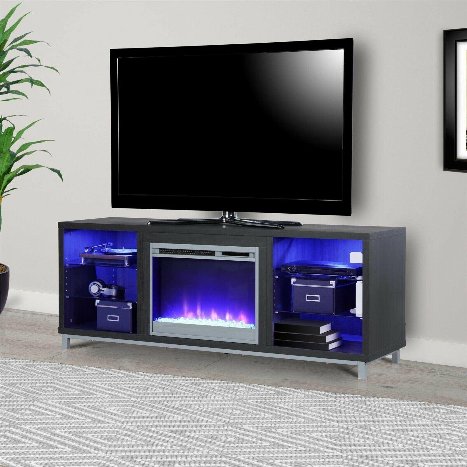 """Ameriwood Home Rhea Tv Stands For Tvs Up To 70"""" In Black Oak Intended For Fashionable Ameriwood Home Lumina Fireplace Tv Stand For Tvs (View 7 of 10)"""