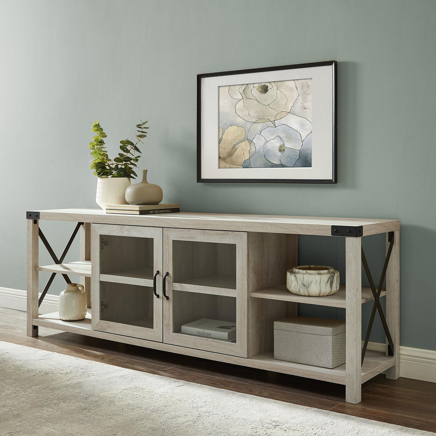 """Ansel Tv Stands For Tvs Up To 78"""" With Popular Modern Farmhouse Metal X Tv Stand For Tv's Up To  (View 9 of 25)"""