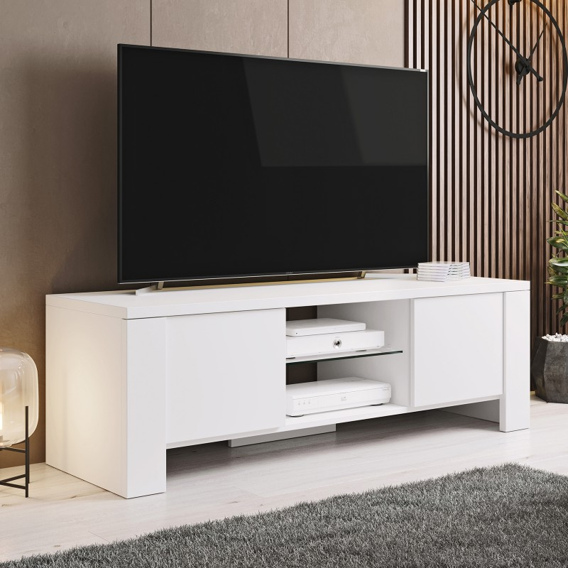 Anya Wide Tv Stands Pertaining To Well Liked Bmf West Tv Stand 130cm Wide White Matt Modern Living Room (View 2 of 10)