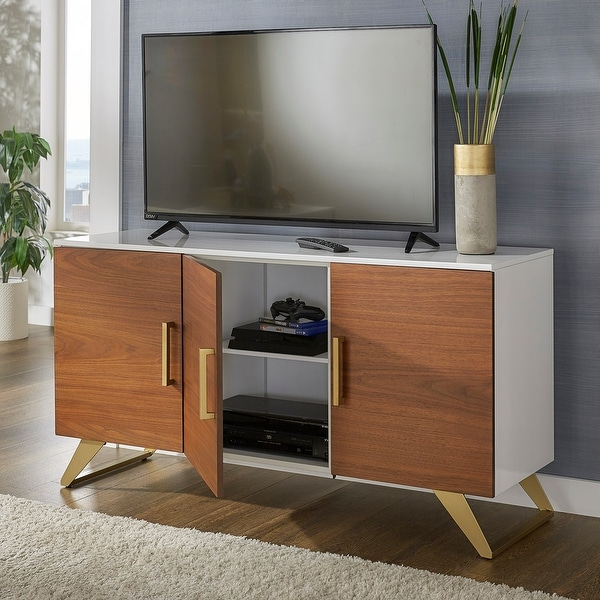 Archer Two Tone High Gloss White 3 Door Tv Stand Throughout Popular Mainstays 3 Door Tv Stands Console In Multiple Colors (View 9 of 10)