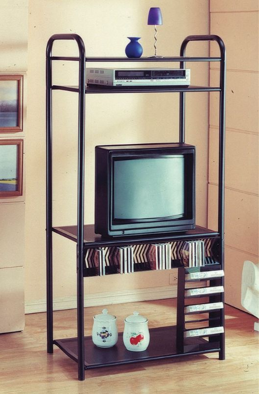"""Asia Direct 508a 33"""" Wide Black Metal Finish Tv Stand Within Current Tiva Oak Ladder Tv Stands (View 6 of 10)"""