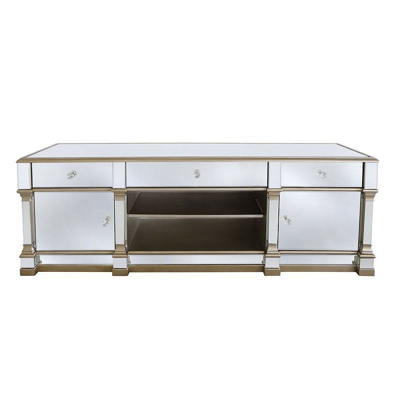 Athens Gold Mirrored Tv Entertainment Stand – Large In Throughout Well Liked Fitzgerald Mirrored Tv Stands (View 2 of 25)