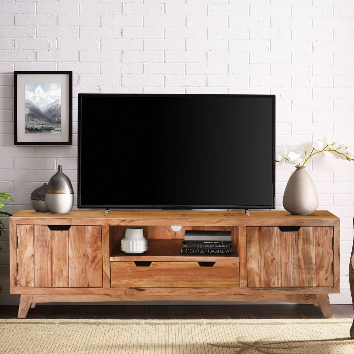 Augusta Handcrafted Two Drawer Solid Wood Tv Media Cabinet With Preferred Manhattan 2 Drawer Media Tv Stands (View 15 of 25)