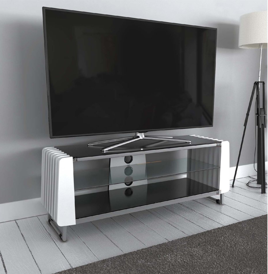 """Baba Tv Stands For Tvs Up To 55"""" Regarding Popular Avf Grv1250a White Options Groove Tv Stand For Up To  (View 7 of 25)"""
