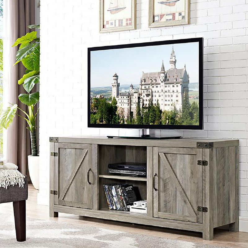 Barn Door Tv Stand With Regard To Popular Tv Stands With Table Storage Cabinet In Rustic Gray Wash (View 7 of 10)