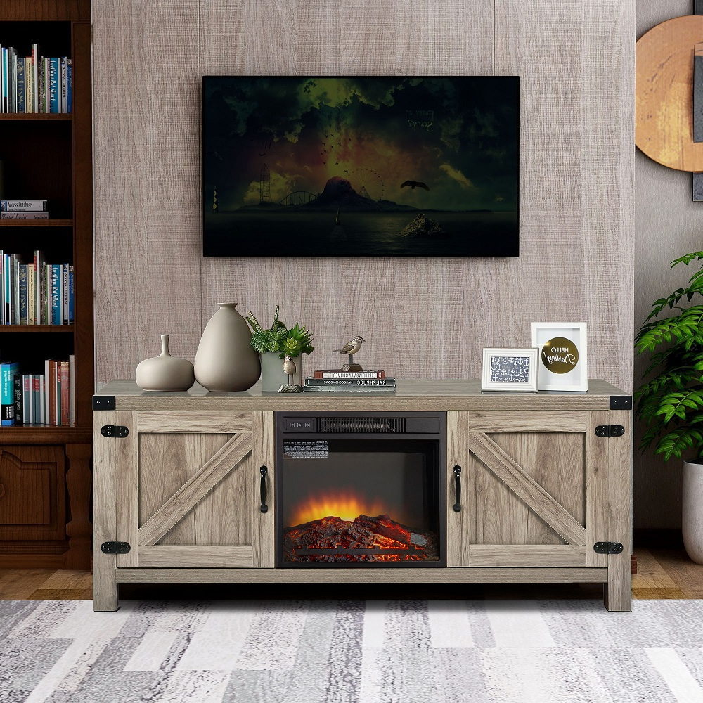 Barn Door Wood Tv Stands In Most Up To Date Electric Fireplace Tv Console With Remote, Farmhouse Tv (View 8 of 10)