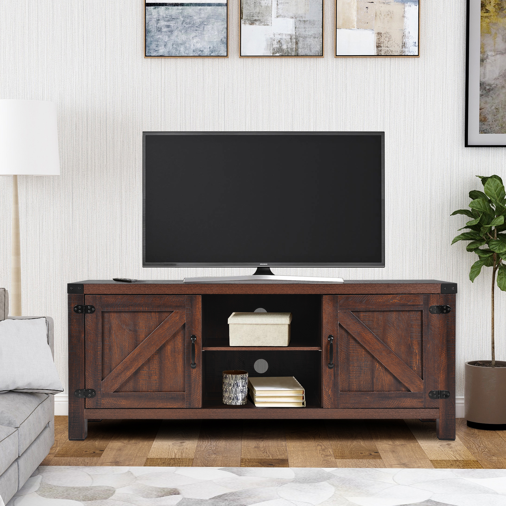 Barn Door Wood Tv Stands Intended For Famous 58 Inch Wood Tv Stand, Farmhouse Tv Stand With Fireplace (View 6 of 10)