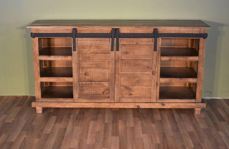 Barn Door Wood Tv Stands Within 2017 Rustic Style Solid Wood Barn Door Sliding Door Tv Stand (View 1 of 10)