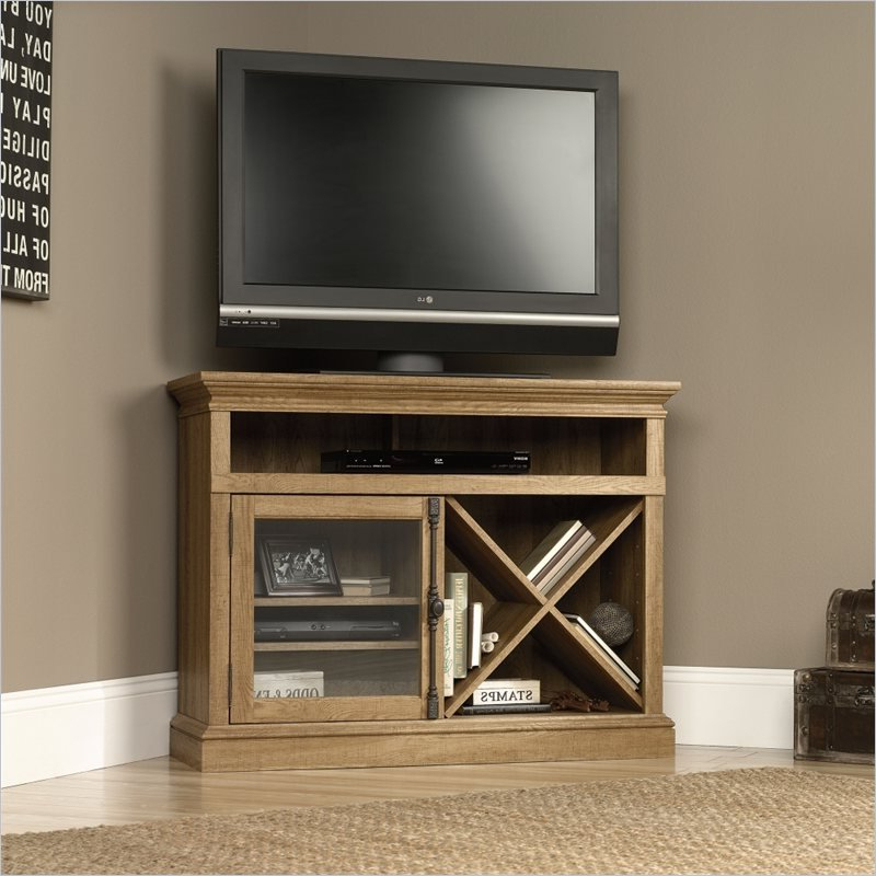 Barrister Lane Corner Tv Stand In Scribed Oak – 414723 Inside Famous Mainstays Payton View Tv Stands With 2 Bins (View 1 of 10)