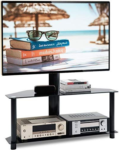 """Beautiful 5rcom Universal Floor Tv Stand With Swivel Mount Inside Widely Used Whalen Furniture Black Tv Stands For 65"""" Flat Panel Tvs With Tempered Glass Shelves (View 8 of 10)"""
