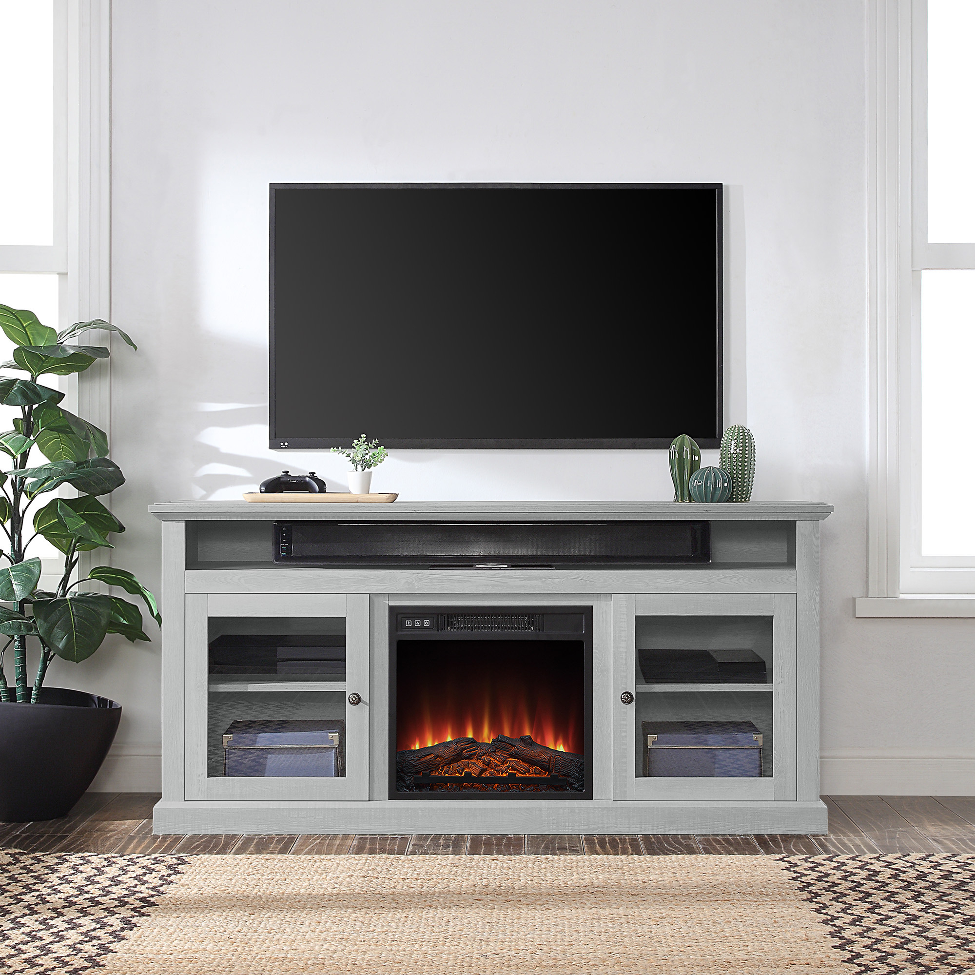 """Belleze 60"""" Entertainment Center Tv Stand Console With Throughout Most Up To Date Tv Stands For Tvs Up To 65"""" (View 4 of 22)"""
