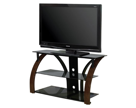Bello Tv Stand Avsc 2141 Hdtv And Electronics For Newest 57'' Tv Stands With Open Glass Shelves Gray & Black Finsh (View 9 of 10)