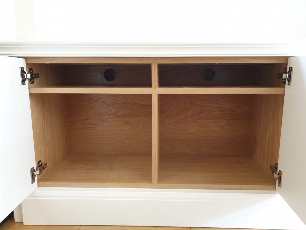Bespoke Alcove Tv Cabinet In A Spray Painted Finish With With Popular Greenwich Corner Tv Stands (View 1 of 10)