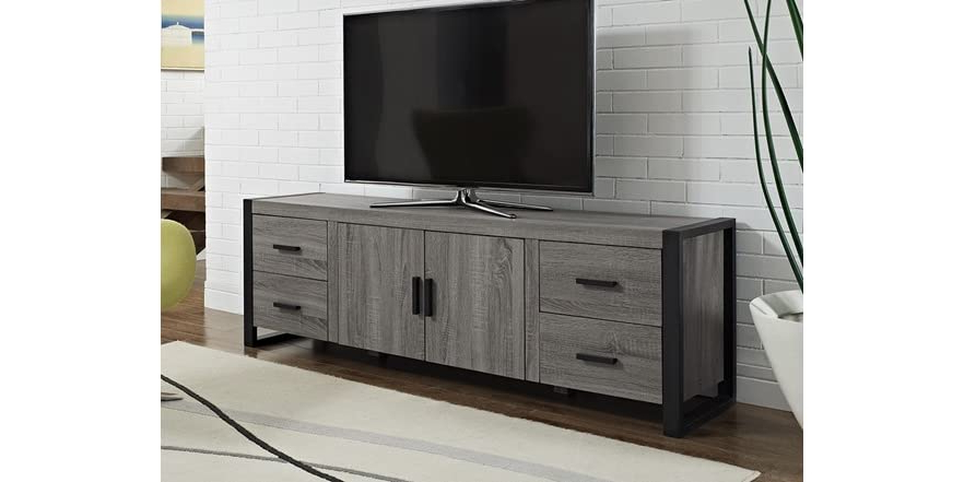 """Best And Newest 70"""" Ash Grey Wood Tv Stand Console Inside Claudia Brass Effect Wide Tv Stands (View 7 of 10)"""