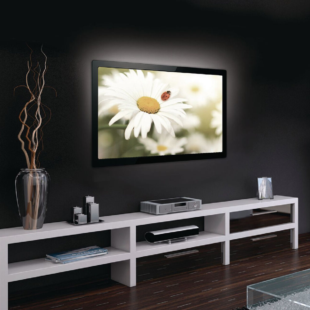 Best And Newest 90cm Cool White Led Strip Tv Back Light  Usb Ambient Mood Inside Milano White Tv Stands With Led Lights (View 23 of 25)
