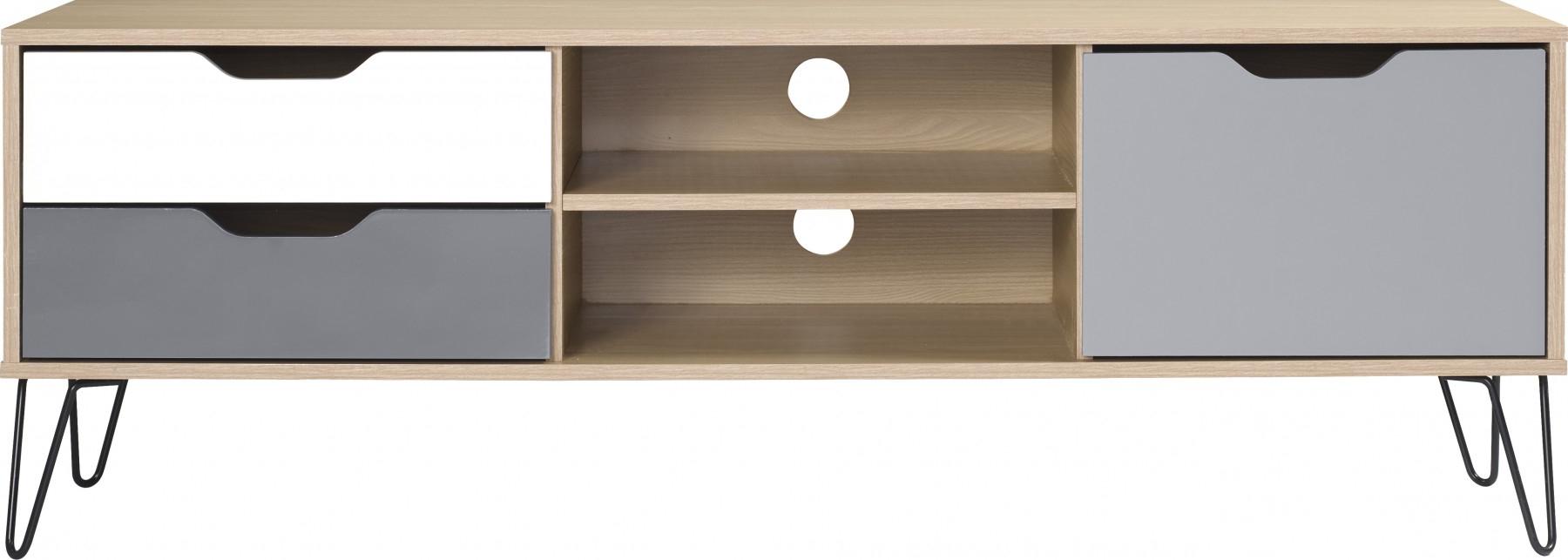 Best And Newest Bergen Tv Stands In Bergen 1 Door 2 Drawer Tv Unit In Oak Effect/white/grey (View 12 of 25)