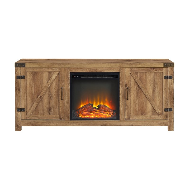 Best And Newest Farmhouse Fireplace Tv Stand With Coffee Table And 2 End Inside Modern Farmhouse Fireplace Credenza Tv Stands Rustic Gray Finish (View 2 of 10)