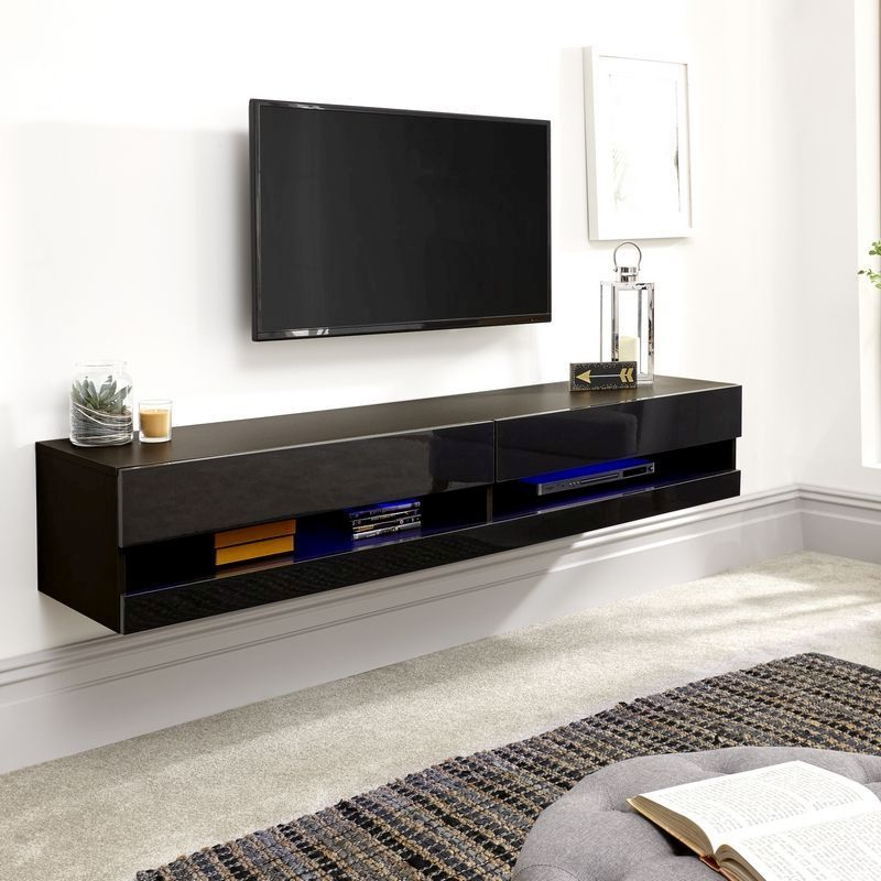 Best And Newest Galicia 180cm Led Wide Wall Tv Unit Stands For Buy Galicia Wall Tv Unit Black 2 Shelf 180cm – Online At (View 6 of 10)