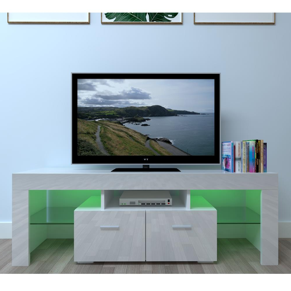 Best And Newest Ktaxon Modern High Gloss Tv Stands With Led Drawer And Shelves For Large High Gloss White Tv Unit Cabinet Stand W/led Lights (View 6 of 10)