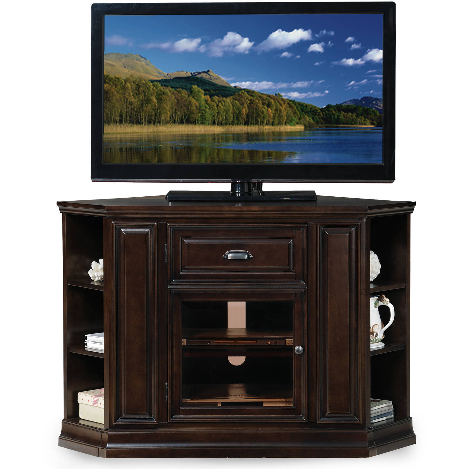 """Best And Newest Leick Home 32"""" High Corner Tv Stand W/bookcase For Tv's Up Pertaining To Paulina Tv Stands For Tvs Up To 32"""" (View 15 of 25)"""