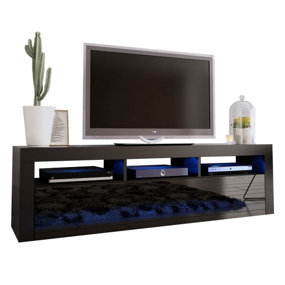 """Best And Newest Milano Classic Black Wall Mounted Floating Modern 63"""" Tv Throughout Milano 200 Wall Mounted Floating Led 79"""" Tv Stands (View 8 of 10)"""