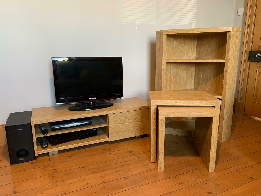 Best And Newest Oak Effect Tv Unit, Corner Shelf Unit & Nest Of Tables In Fulton Oak Effect Corner Tv Stands (View 16 of 25)