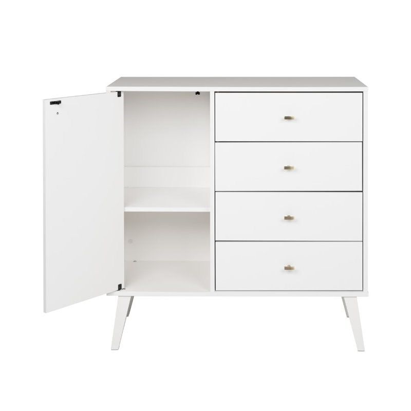 """Best And Newest Prepac Milo Mid Century Modern 4 Drawer Chest With Door In With Regard To Prepac Milo Mid Century Modern 56"""" Tv Console Stands (View 8 of 10)"""